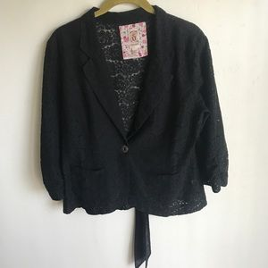 Decree Black Lace Short Jacket One Button Size L